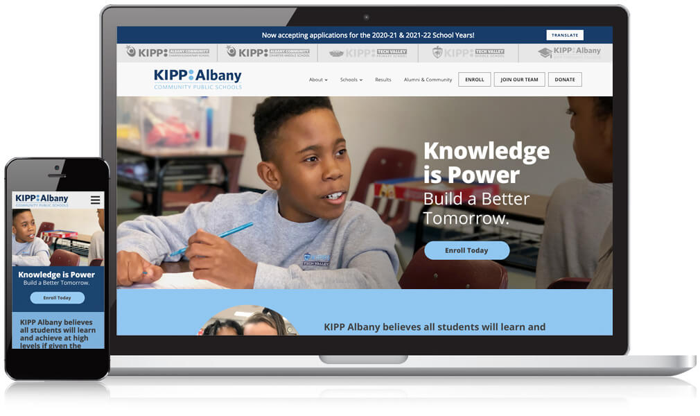 KIPP Albany homepage website shown on a mobile and laptop