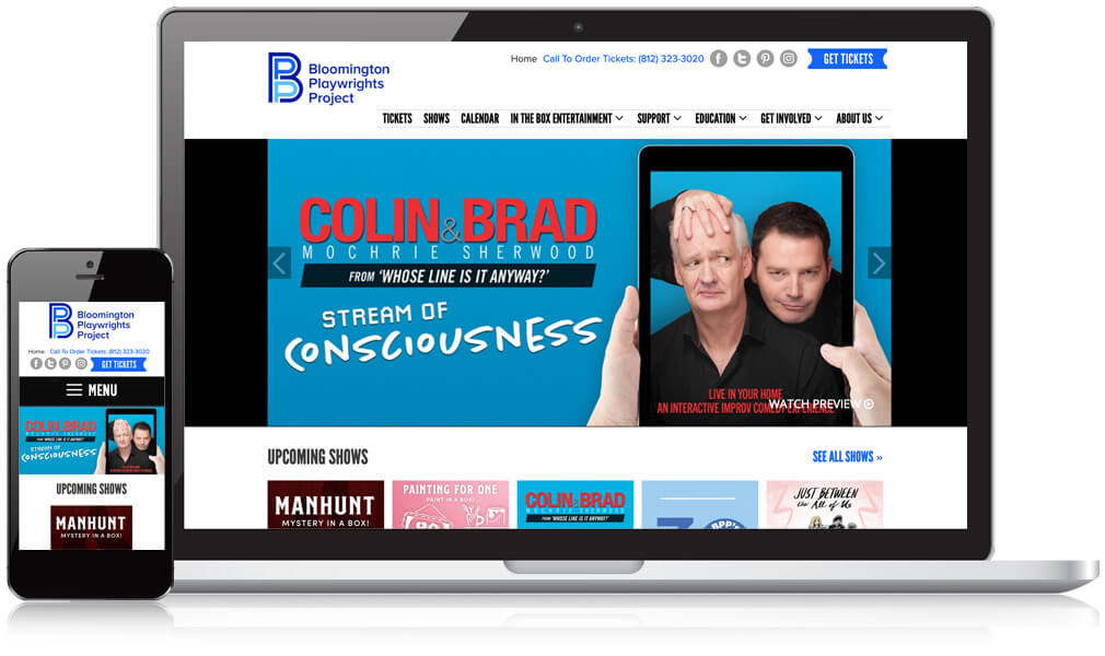 Homepage design of Bloomington Playwrights on a laptop and mobile screen