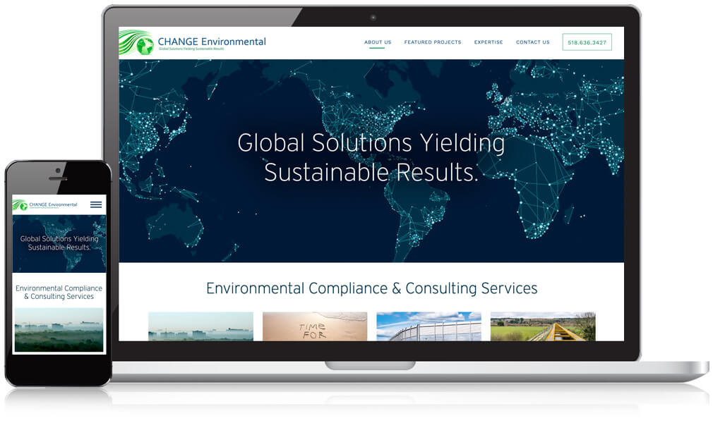 CHANGE Environmental homepage design on desktop and mobile device