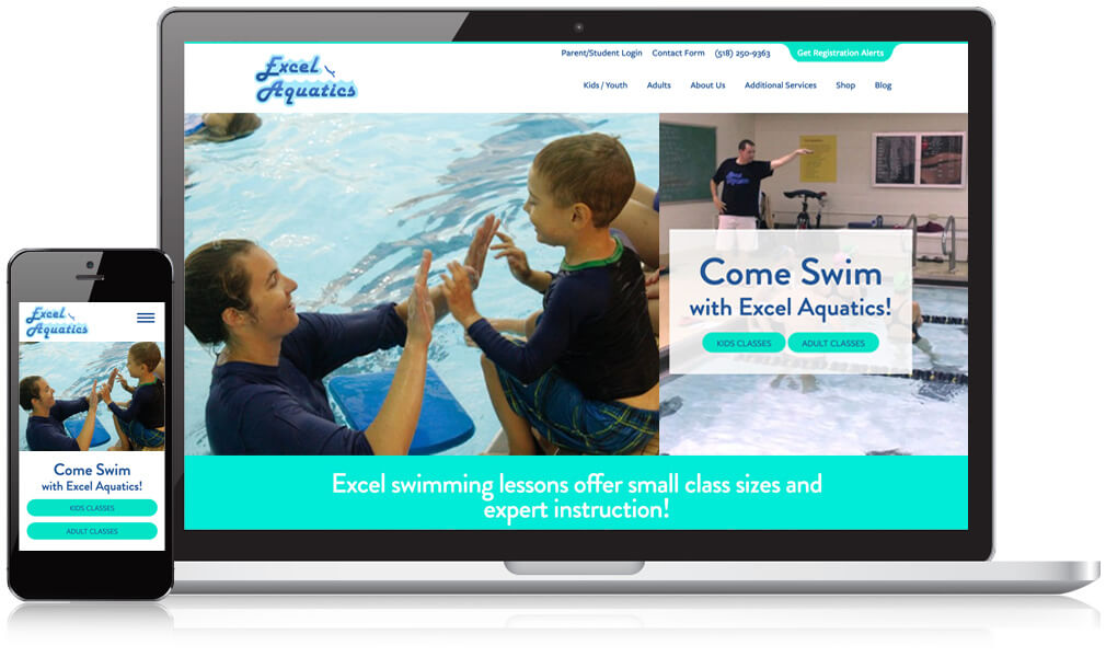 Homepage view of Excel Aquatics on a mobile and desktop screen