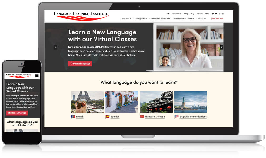 Mobile and Desktop Image of Language Learning Institutes Website