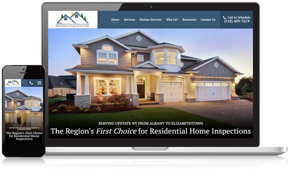 RVD Home Inspection Website On Desktop & Mobile