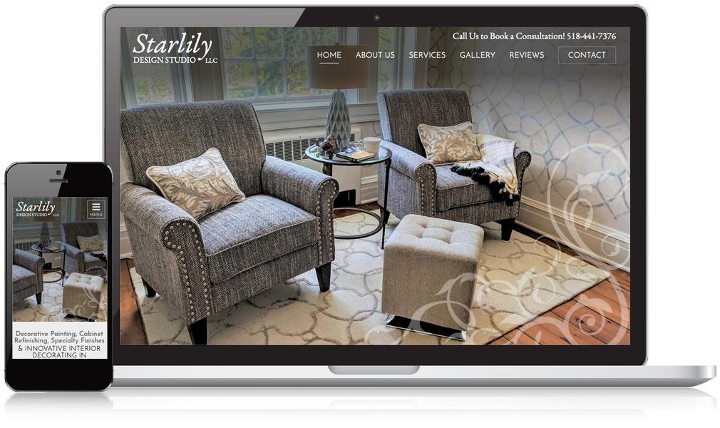 Laptop & Mobile Screens Of Starlily Design Studio