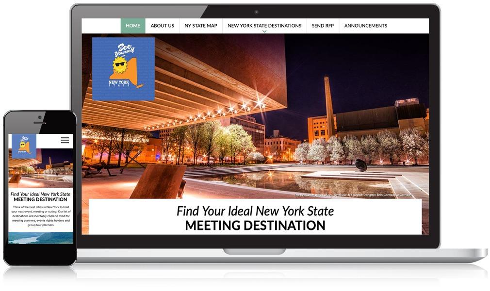 Laptop & Mobile Screens Of NYS Destination Marketing Association