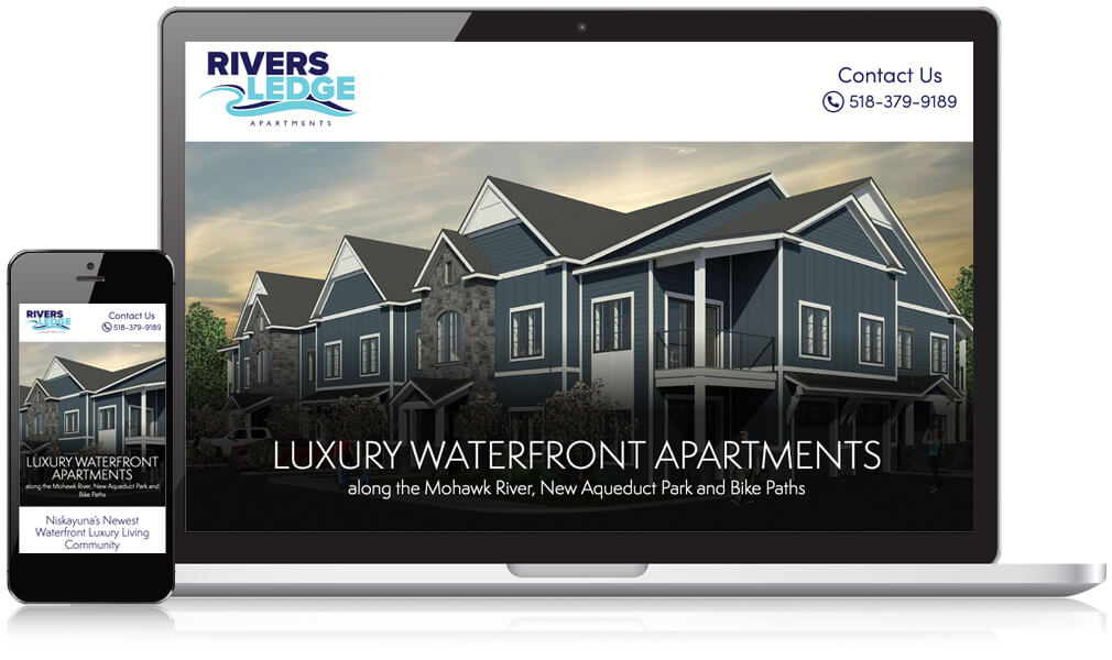Image of Rivers Ledge Apartments on a laptop and mobile phone