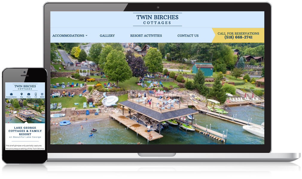 Laptop and mobile image of Twin Birches Cottages in Lake George website homepage
