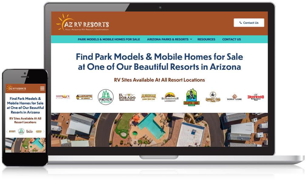 Laptop & Mobile Screens Of Arizona RV Resorts
