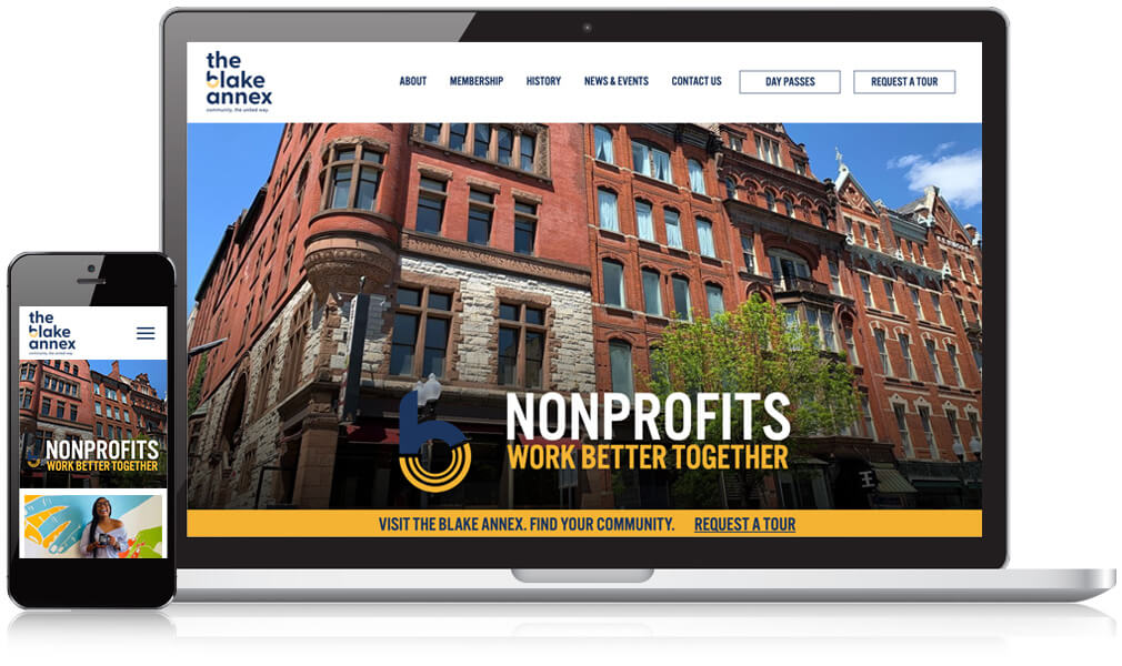 Image of the mobile and desktop screen of the Blake Annex homepage website