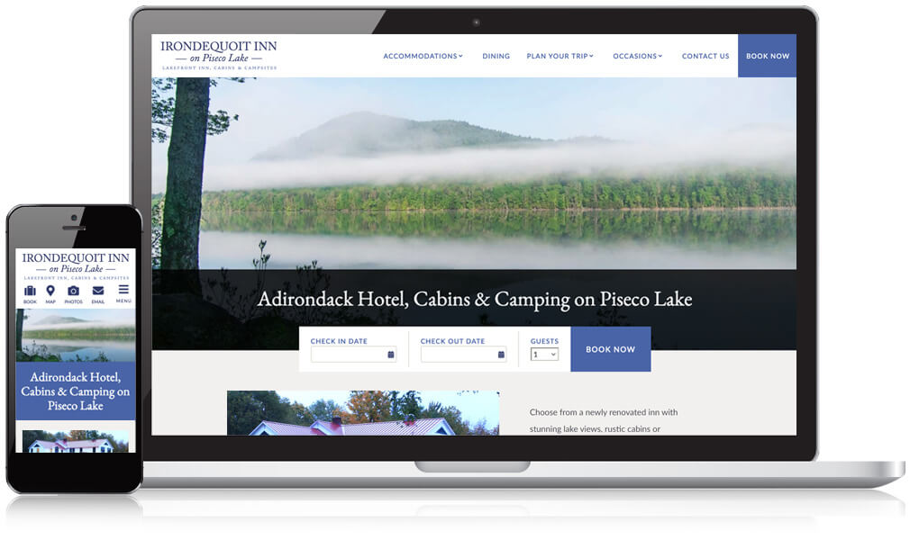 Mobile and desktop device of the Irondequoit Inn homepage