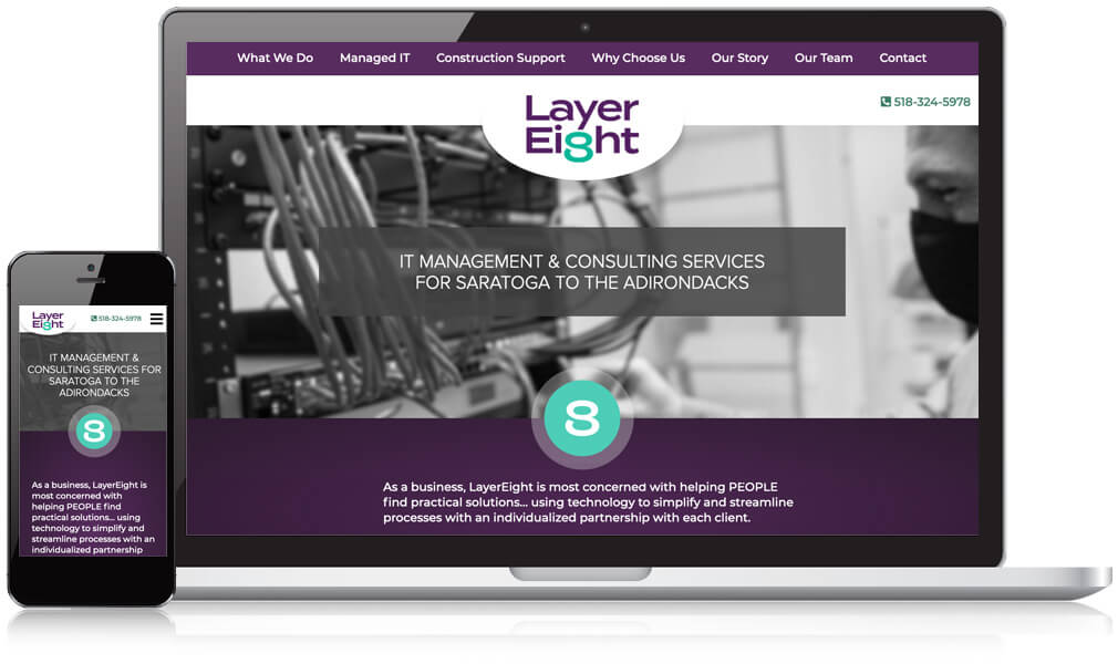 Homepage image of Layer Eight's website on desktop and mobile phone